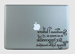 Alice In Wonderland Quote Vinyl Decal Sticker Purple
