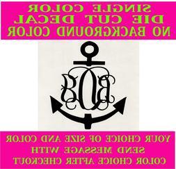 Anchor Monogram Vine Font vinyl decal for window, car, mirro
