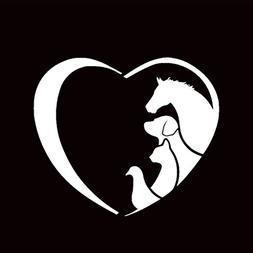 Animal Love Heart Vinyl Decal Sticker | Cars Trucks Vans Wal