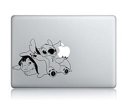 Baby Lilo And Stitch Holding Apple Sticker -Apple Macbook La