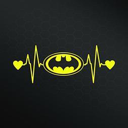 Batman Bat Signal Heartbeat Vinyl Decal Sticker | Cars Truck