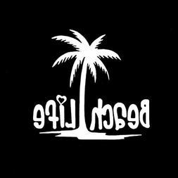 Beach Life Palm Tree Decal Vinyl Sticker|Cars Trucks Vans Wa