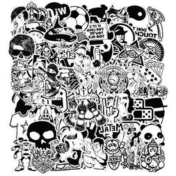 150 Pcs Black and White Car Sticker for Laptop Motorcycle Lu