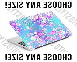 Blue Floral Pink Flowers Laptop Skin Decal Sticker Tablet Sk