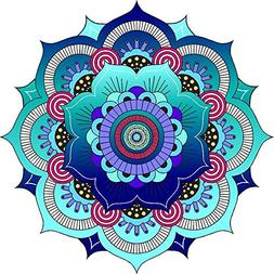 "12"" Blue Mandala Mural Panoramic Wall Decal Sticker Removabl"