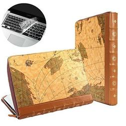 Se7enline Brown Map Pattern PU Leather Book Case for 13 inch