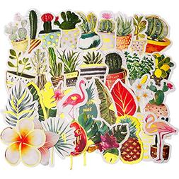 Gejoy 48 Pieces Cactus Stickers Succulent Stickers Tropical