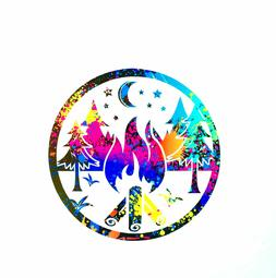Camping Nature Trees Travel RV Campfire Decal Sticker Window