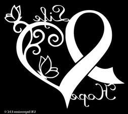 cancer awareness ribbon heart butterfly