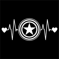 CCI Captain America Love Heartbeat Avengers Marvel Decal Vin