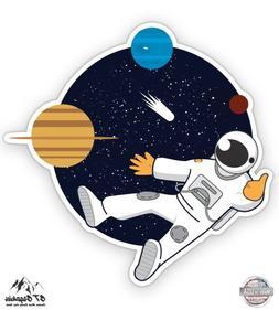 "Cartoon Astronaut in Space - 3"" Vinyl Sticker - For Car Lapt"