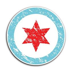 CHICAGO FLAG CIRCLE -  Grunge Decal Sticker for Car Truck Ma