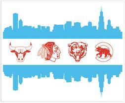 Chicago Sport Teams Flag Logo Vinyl Sticker Decal Sign SIZES