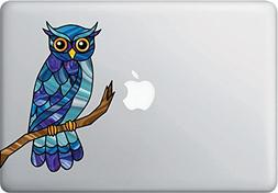 Curious Owl Stained Glass Style - Vinyl Decal for Laptop | M