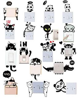 Efivs Arts 17 Pcs Cute Animals Removable Creative Light Swit