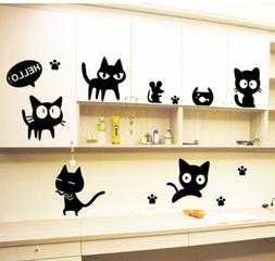 Cute Cat Vinyl Home Room Decor Laptop Wall Sticker Bedroom R