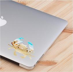 Cute Crab with beach theme skin laptop sticker quote decals