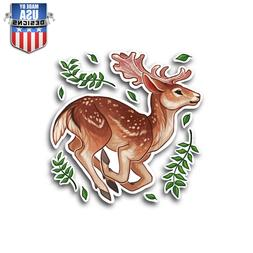 cute deer in leafs sticker decal phone