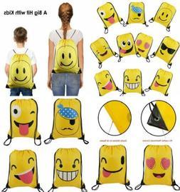 Cute Emoji Cartoon Drawstring Backpack Bags for Kids Girls a