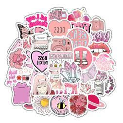Cute Pink Stickers VSCO Anime Girls Kawaii Water Bottle Lapt