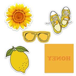 Cute Yellow Vinyl Laptop and Water Bottle Decal Sticker Pack