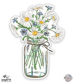 "Daisies in Mason Jar - 3"" Vinyl Sticker - For Car Laptop I-P"