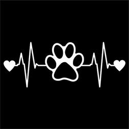 Dog Paw Heartbeat Vinyl Decal Sticker | Cars Trucks Vans Wal