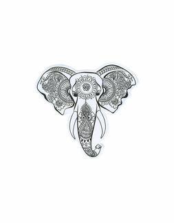 Elephant Head Henna Art Sketch Vinyl Decal Decor Laptop Car