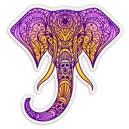 Elephant Henna Purple Car Laptop Phone Vinyl Sticker  - SELE