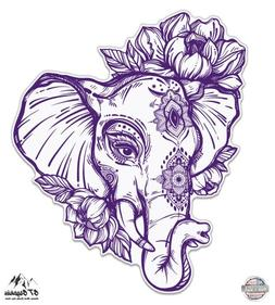"Elephant Henna Purple - 5"" Vinyl Sticker - For Car Laptop I-"