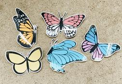 Five Multi Butterfly Laminated Homemade Sticker Pack