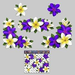 FLOWER Frangipani PLUMERIA Small Corners Purple/White Decal