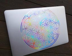 Flower of Life Laptop Decal |Vinyl Sticker Rainbow Holograph
