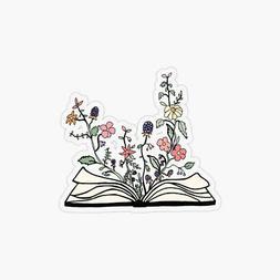 Flowers Growing Book Laptop Sticker Bottle Macbook Decal Sty