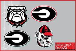 "Georgia Bulldogs UGA, G & SPIKE DOG 4 pack of 2"" Vinyl Decal"