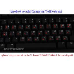 GERMAN Transparent Keyboard Sticker laptop desktop RED BLACK