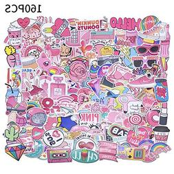 Yizeda 160 PCS Girl Cute Lovely Laptop Stickers Pink Decorat