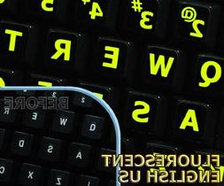 Glowing fluorescent Large Lettering English US keyboard stic