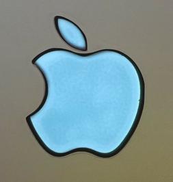 GLOWING SKY BLUE APPLE MacBook Pro Air Sticker Mac Logo Lapt