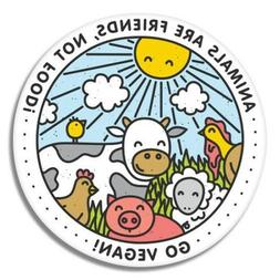 Go Vegan Happy Animals Car Laptop Phone Vinyl Sticker  - SEL