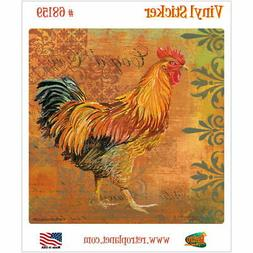 Gold Rooster French Coq Motifs Vinyl Sticker Laptop Bumper D