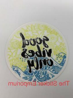 Good Vibes Only Beach Waves Shells Sticker ~ Water Bottle ~
