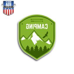 Green Camping Crest Sticker Decal Phone Laptop Car Window Ar