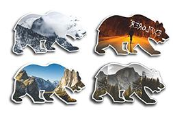 Half Dome Yosemite Valley Cali Bear Sticker Pack  Waterproof