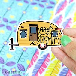 Happy Camper Vinyl Sticker, Camping Sticker, Travel Sticker,