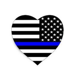 Heart thin blue line 4x4 inches flag honoring our men & wome