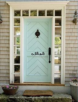 Hello. Gloss White Cursive Writing Welcome to Our Home Decal