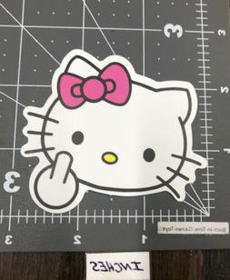 Hello Kitty Adult Humor Middle Finger Decal Skateboard Lapto