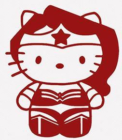 HELLO KITTY WONDER WOMAN DC COMICS SANRIO LOGO VINYL STICKER