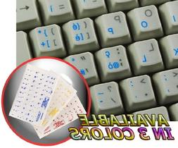 ITALIAN KEYBOARD STICKERS WITH BLUE LETTERING TRANSPARENT BA